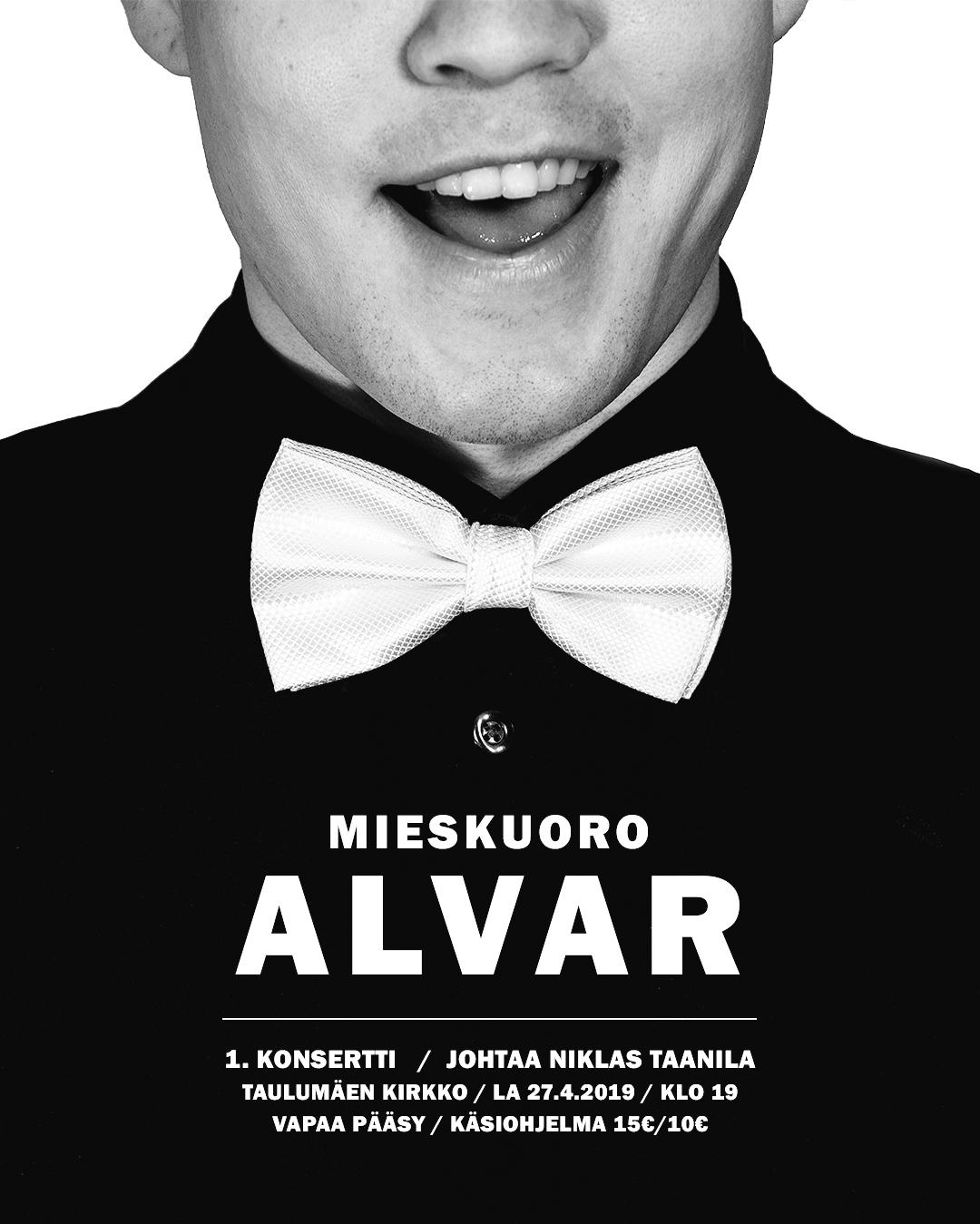 2019 04 10 Mieskuoro Alvari juliste, 1.konsertti, Instagram