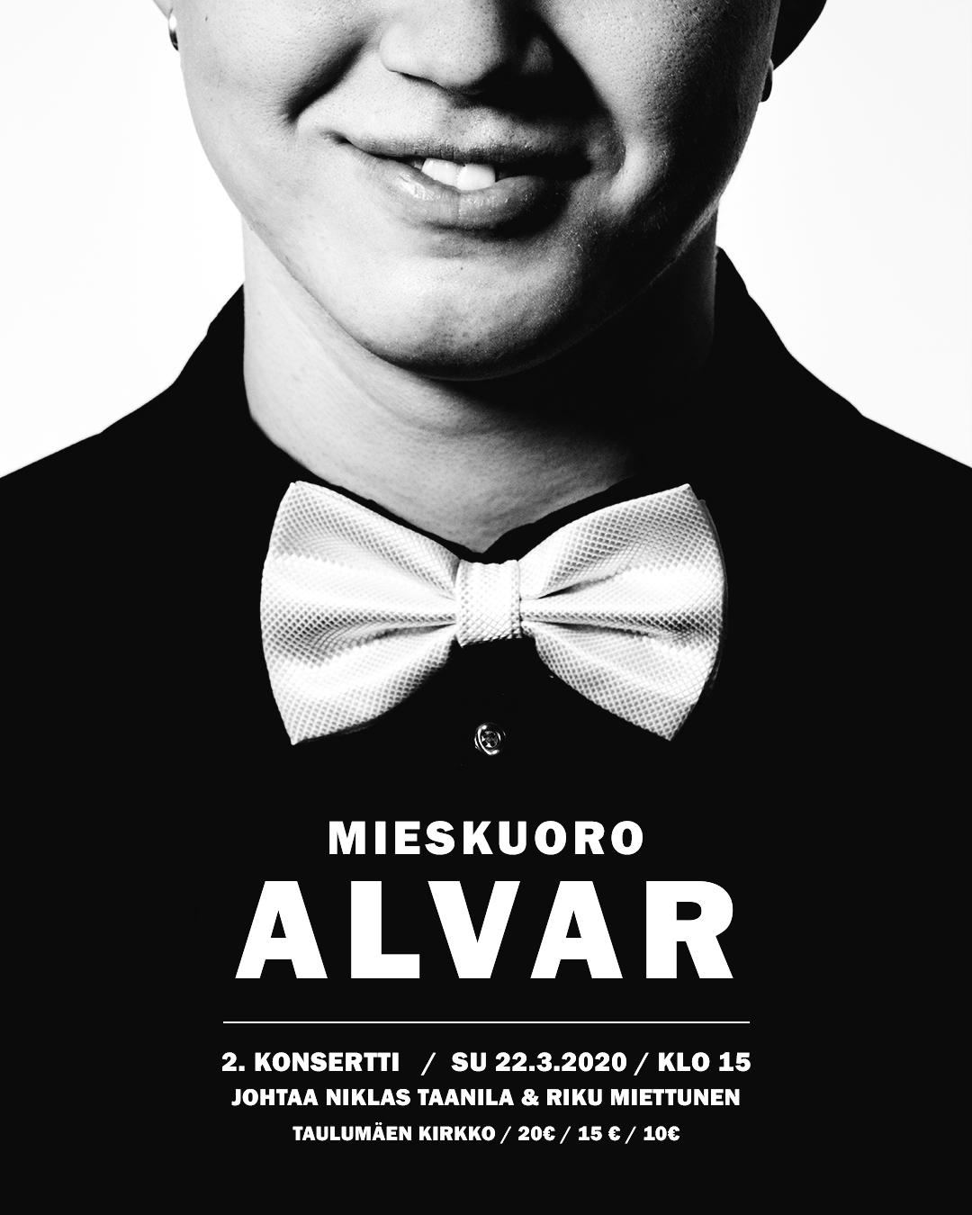 2020 03 08 Mieskuoro Alvari juliste, 2.konsertti, Instagram kuva 1