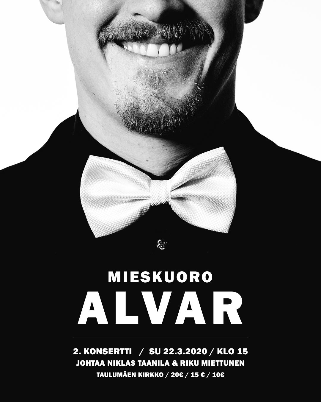 2020 03 08 Mieskuoro Alvari juliste, 2.konsertti, Instagram kuva 2.2